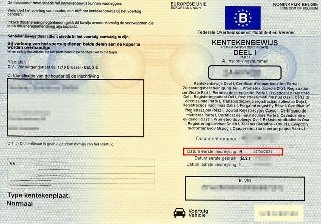 Kentekenbewijs datum eerste inschrijving.