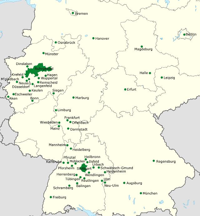 Kaart met alle milieuzones van Duitsland